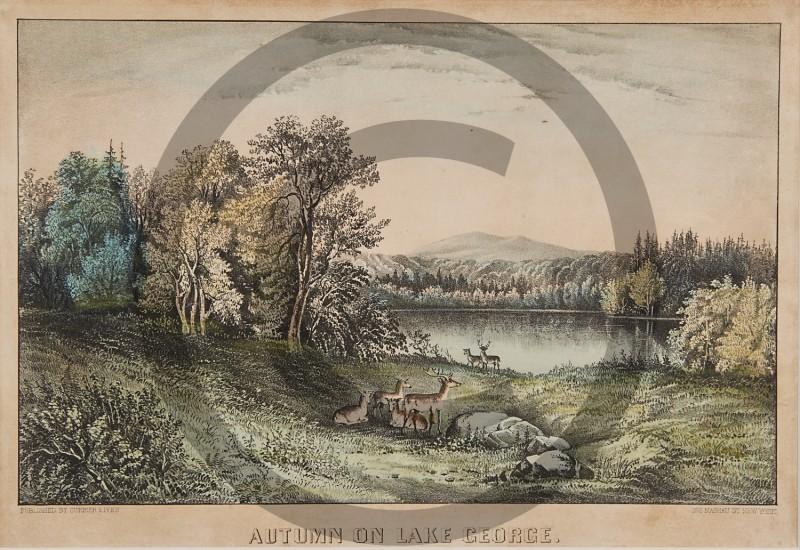 CURRIER  & IVES -- AUTUMN ON LAKE GEORGE