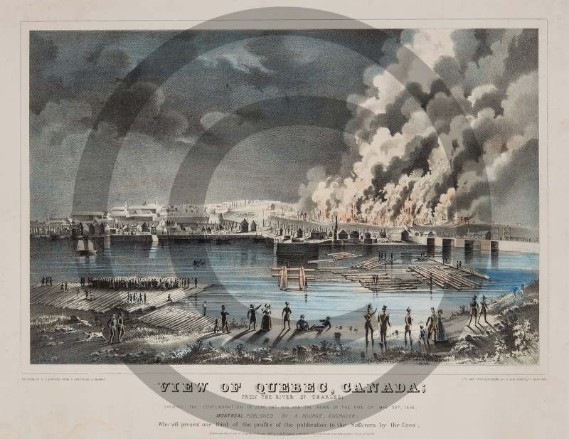 J. MURRAY -- VIEW OF QUEBEC, CANADA . . . SHEWING THE CONFLAGRATION OF JUNE 28TH  1845
